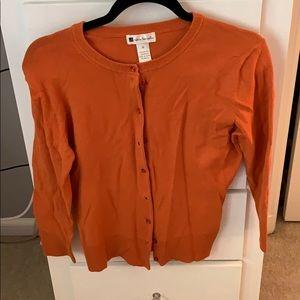 Valerie Bertinelli orange cardigan